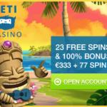 Probeer het nieuwe Yeti casino uit met een bonus zonder storten