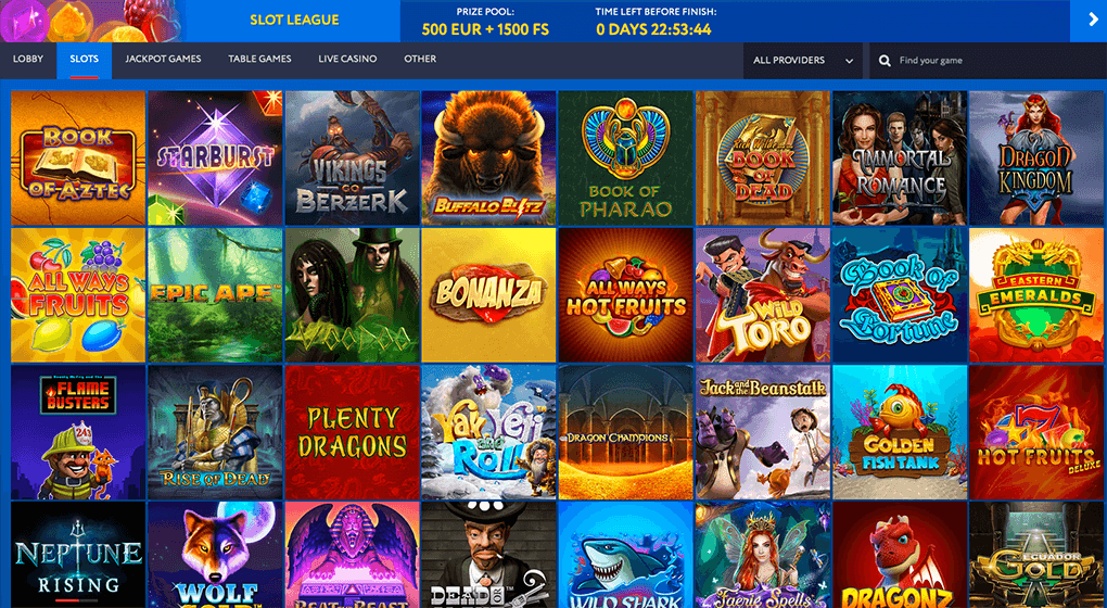 spelaanbod in EUslot casino