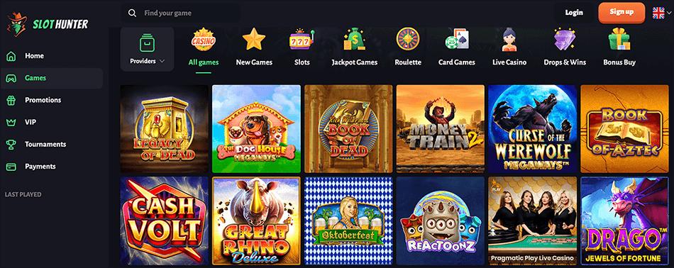 Alle games bij SlotHunter casino