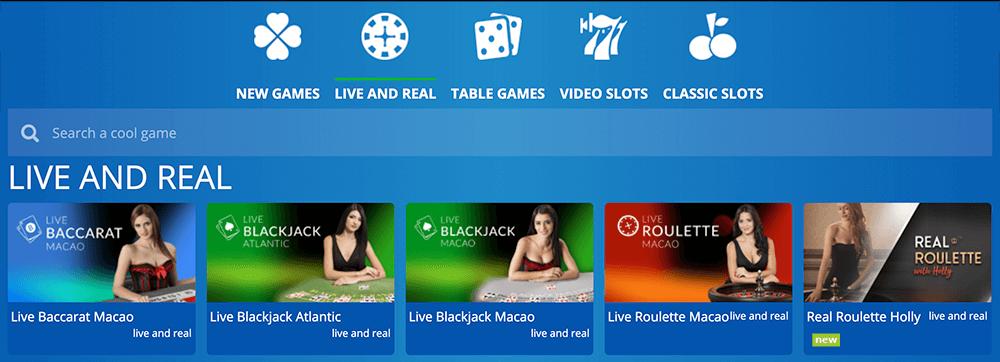 Ervaar het Live casino