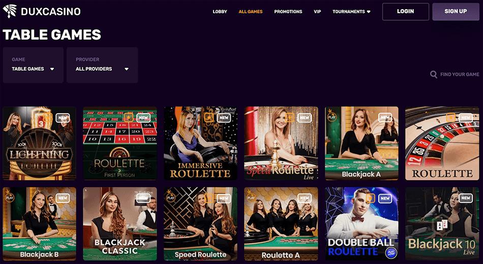Speel tafelspellen of Live casino
