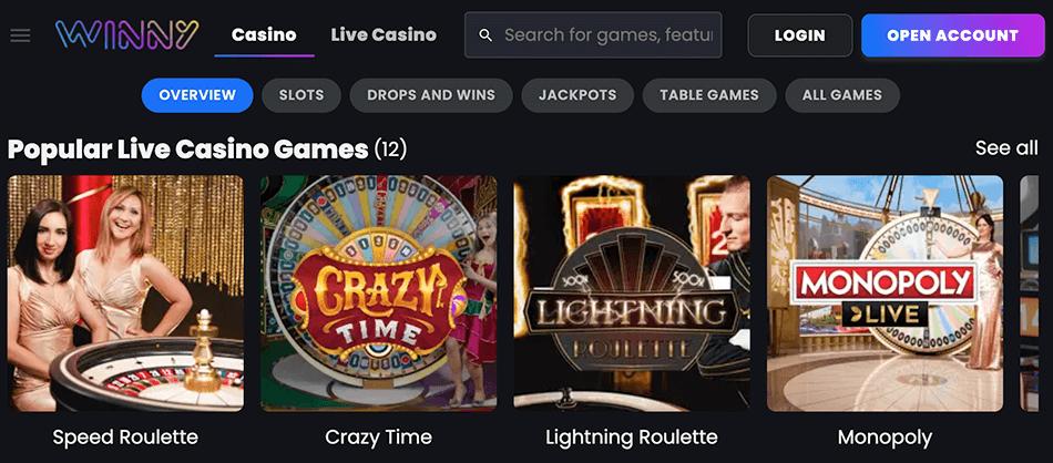 Tafelspellen en Live casino van Winny
