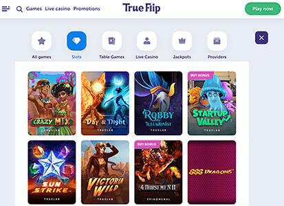 Meeste casino spellen bij True Flip zijn natuurlijk slots
