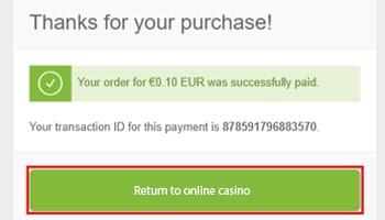 Casino betaling bevestigen